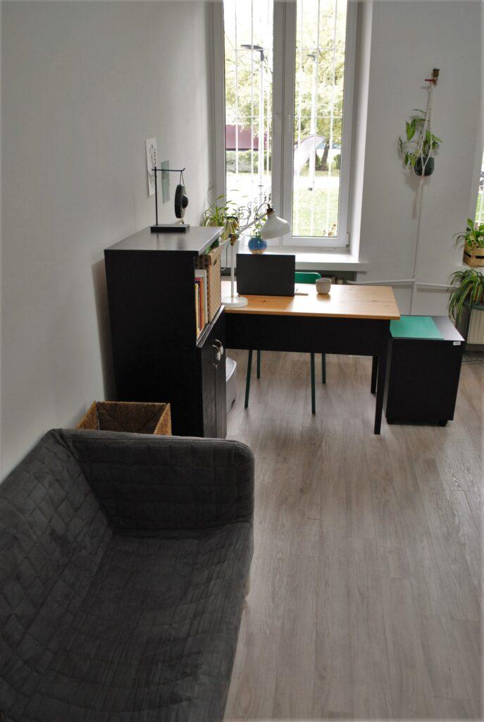 Kanapa, półka, biurko i okno.